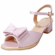 cheap Women's Sandals-Women's Shoes PU Summer Comfort Sandals Walking Shoes Low Heel Open Toe Buckle Ribbon Tie for Outdoor White Pink