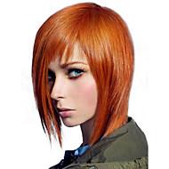 女性 人間の毛のキャップレスウィッグ オーバーン ショート丈 ストレート ボブスタイル・ヘアカット バング付き サイドパート