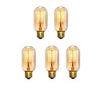 5 stk t45 z vintage edison pærer 40w e27 varm hvit antik stil ekorn bur filament retro lys ac220-240v