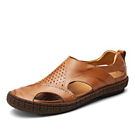 Men's Sandals Comfort Spring Fall Leather Cowhide Casual Outdoor Office & Career Polka Dot Flat Heel Black Brown Flat