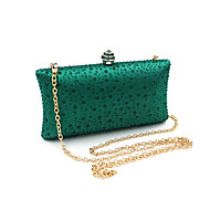 cheap Wedding Bags-Women's Bags PVC Evening Bag Rhinestone Crystal Chain for Wedding Event/Party Spring Summer Green