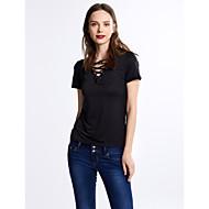 Majica s rukavima Žene Jednobojni V izrez Naborano Umjetna svila