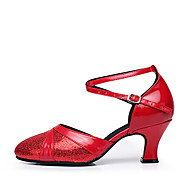 Women's Dance Shoes Leatherette Paillette Modern Heels Heel Beginner Blue Red Silver Gold Customizable