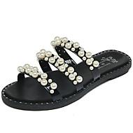 お買い得  レディースサンダル-女性用 靴 PUレザー 夏 コンフォートシューズ サンダル ウォーキング フラットヒール オープントゥ レース ボタン のために アウトドア ホワイト ブラック