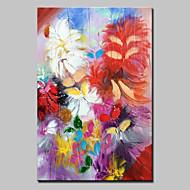billiga Oljemålningar-Hang målad oljemålning HANDMÅLAD - Blommig / Botanisk Moderna / Europeisk Stil Duk / Sträckt kanfas