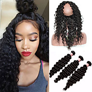 8A 360 Lace Frontal With Bundles Mongolian Virgin Hair Deep Wave Curly Pre Plucked 360 Frontal Closure With 3 Bundles Baby Hair