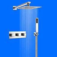זול ברזים למקלחת-עכשווי מותקן על הקיר מקלחת גשם שפורפרת יד כלולה שסתום קרמי ארבעה חורים שתי ידיות ארבעה חורים כרום , ברז למקלחת