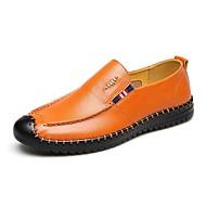 baratos Sapatos Masculinos-Homens Couro Verão / Outono Conforto Mocassins e Slip-Ons Caminhada Preto / Laranja / Azul Marinho