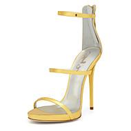 cheap Women's Sandals-Women's Shoes PU(Polyurethane) Spring / Summer Gladiator / Club Shoes Sandals Stiletto Heel Round Toe Zipper Gold / Wedding