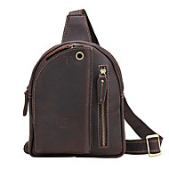 Men Bags Cowhide Sling Shoulder Bag for Casual Outdoor All Seasons Dark Brown