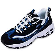 お買い得  メンズ ランニングシューズ-メンズ アスレチック・シューズ カップルの靴 チュール 春 秋 カジュアル ランニング カップルの靴 編み上げ フラットヒール ブラックとホワイト ブラックとブルー 2~2 3/4インチ