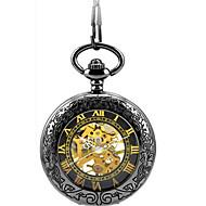 남성 스켈레톤 시계 회중 시계 기계식 시계 오토메틱 셀프-윈딩 합금 밴드 블랙