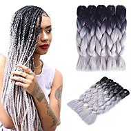 "Jumbo-vlechten 5 stuks Haarvlechten box Vlechten 24 "" Ombre Haarvlechten Synthetisch Zwart / grijs Vlechthaar Haarextensions"