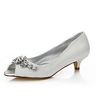 cheap Wedding Shoes-Women's Shoes Silk Spring Summer Comfort Dyeable Shoes Wedding Shoes Low Heel Peep Toe Round Toe Sparkling Glitter Buckle for Wedding