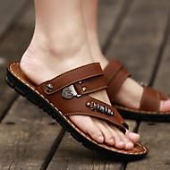 levne Pánská obuv-Pánské Sandály S páskem PU Léto Ležérní Plochá podrážka Žlutá Hnědá Khaki 2.5 - 4.5 cm