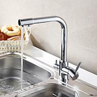 cheap Kitchen Faucets-Contemporary Art Deco/Retro Modern Standard Spout Vessel Rotatable Ceramic Valve Two Handles One Hole Chrome , Kitchen faucet