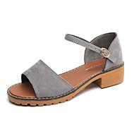 Kadın Sandaletler Kulüp Ayakkabı Bahar Yaz PU Günlük Elbise Toka Kalın Topuk Beyaz Siyah Gri 1inç-1 3/4inç