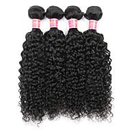 Φυσικά μαλλιά Βραζιλιάνικη Υφάνσεις ανθρώπινα μαλλιών Kinky Curly Σγουρές τρέσες Προσθετική μαλλιών 4 Κομμάτια Μαύρο