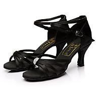 baratos Sapatilhas de Dança-Mulheres Sapatos de Dança Latina Seda Sandália Pedrarias Salto Personalizado Personalizável Sapatos de Dança Preto / Interior / Couro