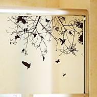 Bomen/bladeren Modern Raamsticker,PVC/Vinyl Materiaal raamdecoratie