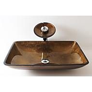 עתיק מלבני חומר סינק הוא זכוכית מחוסמת כיור אמבטיה
