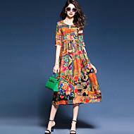 cheap -YHSP Women's Plus Size Beach Chinoiserie A Line Sheath Swing Dress - Multi Color, Print