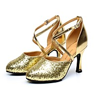 billige Moderne sko-Dame Sko til latindans Paljett Høye hæler Paljett / Spenne Kubansk hæl Kan ikke spesialtilpasses Dansesko Gull / Innendørs