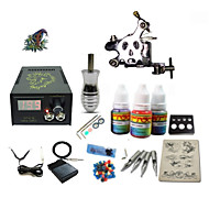 billige Tatoveringssett for nybegynnere-Tattoo Machine Startkit - 1 pcs tattoo maskiner med 1 x 5 ml tatovering blekk LCD strømforsyning No case 1 x stål tatoveringsmaskin til