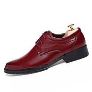 メンズ 靴 PUレザー オールシーズン クラシック・タイムレス ファッション オックスフォードシューズ 編み上げ 用途 結婚式 パーティー 日常 ブラック バーガンディー