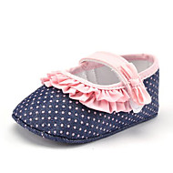 Baby Girls' Kids' Loafers & Slip-Ons First Walkers Fabric Summer Fall Party & Evening Dress Casual Stitching Lace Polka Dot Flat Heel Blue Flat