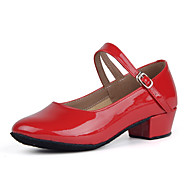billige Kustomiserte dansesko-Dame Moderne sko Lakklær Høye hæler Lav hæl Kan spesialtilpasses Dansesko Svart / Sølv / Rød / Trening