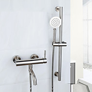 cheap Bathtub Faucets-Bathtub Faucet - Handshower Included Widespread Brushed Tub And Shower Two Handles One Hole