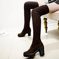 レディース 靴 フリース 冬 ブーツ チャンキーヒール サイハイブーツ 用途 ブラック Brown