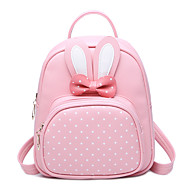 Kids' Bags Fall/Autumn PU Backpack Bowknot MiniSpot for Office/Career Casual Formal Outdoor Traveling Black Blushing Pink Amethyst Fuchsia