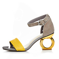 cheap Women's Sandals-Women's Shoes PU Spring Summer Sandals Chunky Heel Open Toe Buckle for Black Yellow Screen Color