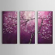 billiga Oljemålningar-HANDMÅLAD Blommig/Botanisk vilken form som helst, Europeisk Stil Moderna Duk Hang målad oljemålning Hem-dekoration Tre paneler