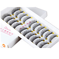 10 Pairs Cross Tail Crisscross Black Cotton Band False Eyelashes Full Strip Lashes