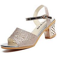 Damen Schuhe PU Sommer Komfort Sandalen Walking Blockabsatz Offene Spitze Schnalle Für Normal Gold Silber