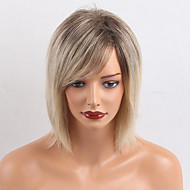 Vrouw Human Hair Capless Pruiken Geel Middel Recht Met pony Ombre-haar Donkere wortels Zijdeel