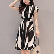 cheap -Women's Going out / Work A Line Dress - Striped Print Summer Black XL XXL XXXL