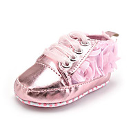 cheap Baby Shoes-Kid's Girls' Shoes Fabric Synthetic Fall Winter First Walkers Sneakers Ribbon Tie Flower for Casual Party & Evening Dress Pink