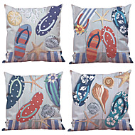 cheap Throw Pillows-4 pcs Natural/Organic Polyester Pillow Case Pillow Cover, Solid Floral Plaid Textured Casual Beach Style Euro Bolster Traditional/Classic