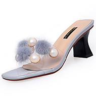 Damen Slippers & Flip-Flops Komfort Sommer PU Walking Normal Perle Bommel Blockabsatz Schwarz Beige Grau 5 - 7 cm