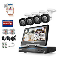SANNC® 8CH 4PCS HD 720P DVR Weatherproof Security System LCD Monitor Supported Analog AHD TVI IP Camera