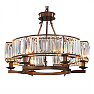 6 lichter kristall deckenleuchte vintage malerei funktion für wohnzimmer schlafzimmer e12 / e14 lampholder schwarz oder kaffee farbe