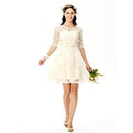 a-line juvel hals kort / mini blonder brudepige kjole med bue (r) blomst (r) sæk / bånd ved yaying