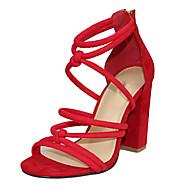baratos Sapatos Femininos-Mulheres Sapatos Tecido Verão Sandálias Salto Robusto Dedo Aberto Ziper Preto / Vermelho / Sapatos clube / Festas & Noite