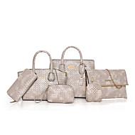 お買い得  バッグセット-女性用 バッグ PU バッグセット 6個の財布セット ジッパー のために オフィス&キャリア / アウトドア ブラック / ルビーレッド / Brown