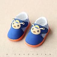 Bebek Ayakkabı Yapay Deri Bahar Sonbahar İlk Adım Düz Ayakkabılar Yürüyüş Alçak Topuk Yuvarlak Uçlu Sihirli Bant Uyumluluk Günlük Mavi
