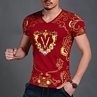 Kortærmet V-hals Solid Medium Herrer Ensfarvet Geometrisk Trykt mønster Sommer Simple Aktiv Gade Boheme Sport Afslappet/Hverdag T-shirt,